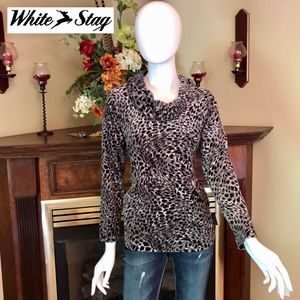 EUC - White Stag - black & gray cheetah sweater!